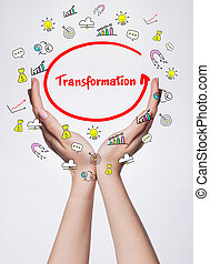 Technology, internet, business and marketing. Young business woman writing word: Transformation