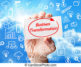 Technology, internet, business and marketing. Young business woman writing word:business transformation
