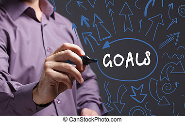 Technology, internet, business and marketing. Young business man writing word: goals