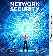 Technology, Internet, business and network concept. Young business man provides cyber security: Network security