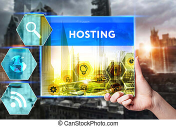 Technology, internet, business and marketing. Young business woman writing word: Hosting
