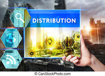 Technology, internet, business and marketing. Young business woman writing word: Distribution