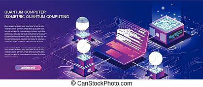 Technology isometric infographic design for quantum computer, artificial intelligence, big data concept with circuit board and processor.