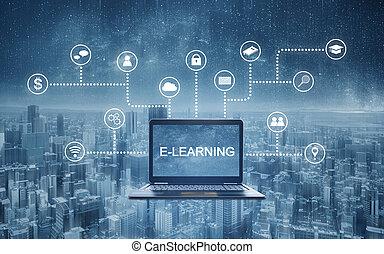technology., laptop, online, programmierung, anwendung, edv, e-lernen, schnittstelle, heiligenbilder, e-lernen, erziehung technologie