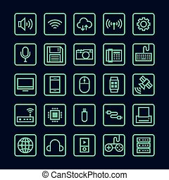 Technology line icon isolated vector illustration