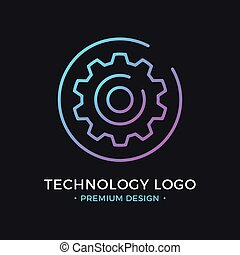 Technology logo. Cog, gear icon in circle. Premium design. Trendy linear style. Abstract concept. Simple round line icon. Creative modern vector logo