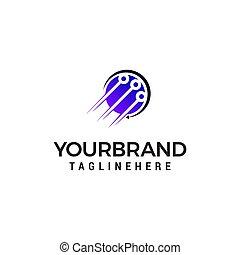 technology logo design concept template vector