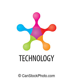 Technology logo in the form of atoms3 - Technology logo in...