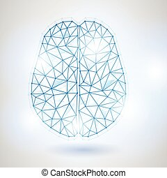 Technology Low Poly Design of Human Brain with Binary Digits-2