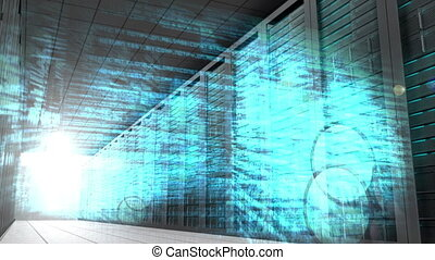 Technology montage in server room - Digital animation of...