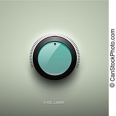 Technology music green glassy button icon, volume settings, sound control knob with black plastic ring, scale, shadow and light. Isolated on background. For internet sites, web interface, applications