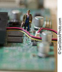 Technology Navigation - Businessman navigates inside Circuit...