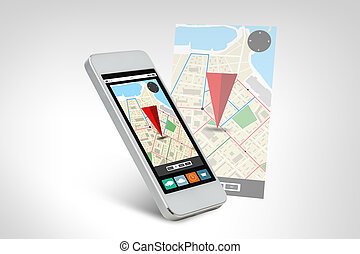 white smarthphone with gps navigator map on screen -...