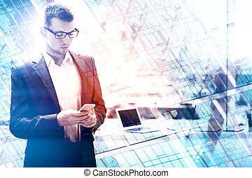 Technology, network and communication concept - Portrait of...