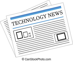 Technology News Newspaper Headlines Vector Illustration