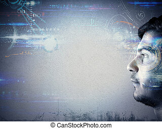 Technology of the future - Man looks the technology of the...