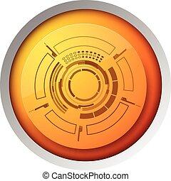 Technology Orange Button Concept