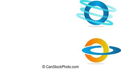 Technology orbit web rings logo design.