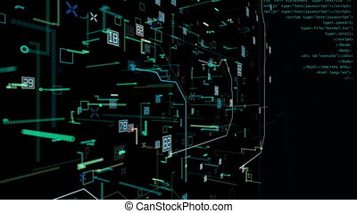Technology particle binary video background