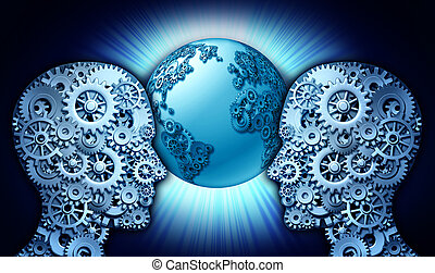 Technology Partnership business concept as a group of gears and cog wheels shaped as two people looking into a world globe made of cogs as a symbol of innovation cooperation between industry leaders of new technologies.