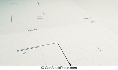 Animation showing several technology patent application illustrations being drawn on paper.