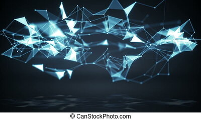 Technology polygonal network shape. Loop background -...