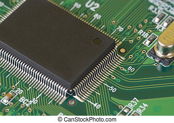 Technology - Printed Circuit Board - Close-up image of a...