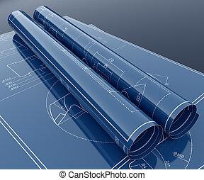 Technology project blueprint - 3d render of technology ...