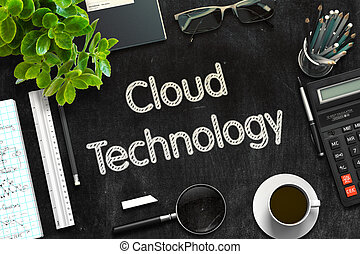 technology., rendering., fekete, chalkboard, felhő, 3