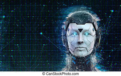 Technology Robot sci-fi woman Cyborg android background