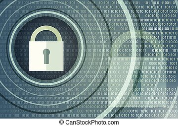 Technology safety concept. Closed Padlock on digital background