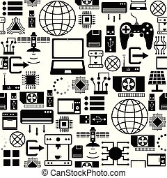 technology seamless pattern background icon.