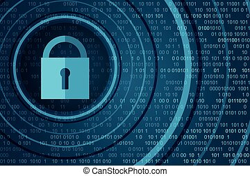 Technology security concept. Closed Padlock on digital background
