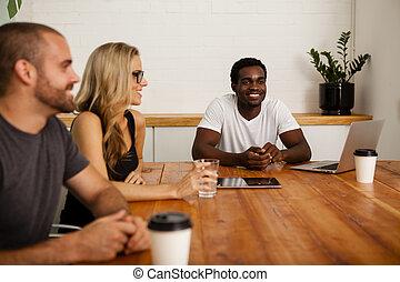 Technology startup team meeting