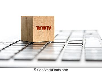WWW Wooden Block on Computer Keyboard