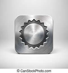 Technology Sun App Icon with Metal Texture