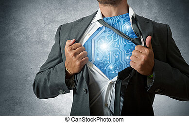 Technology super hero - Super hero with computer circuit