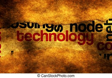 Technology text on grunge background concept