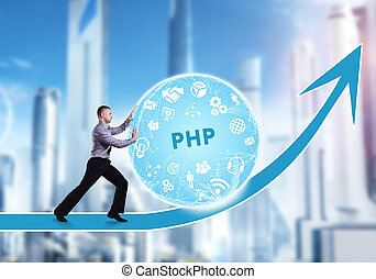 Technology, the Internet, business and network concept. A young businessman overcomes an obstacle to success: PHP