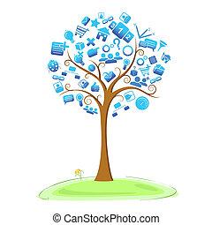 Technology Tree - illustration of technology symbol in tree
