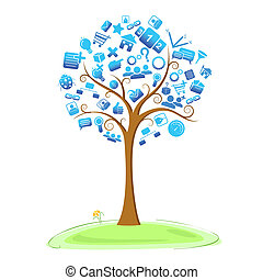 Technology Tree - illustration of technology symbol in tree
