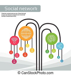 Technology Tree Social Media Icons Thin Line Logo Set