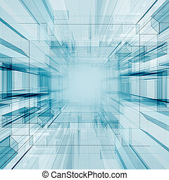 Technology tunnel. Abstract architecture background