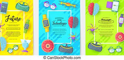 Technology vector brochure cards flat set. Automation...
