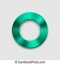 Technology Volume Button with Green Metal Texture