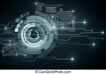 Technology wallpaper - Abstract glowing circuit button on...