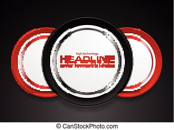 Technology web design with red black circle labels