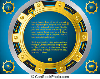Technology website template with cogwheels