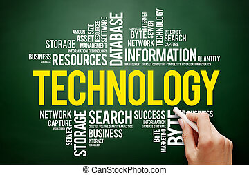 Technology word cloud collage