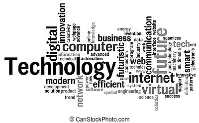 Technology word cloud. Technology typography background.